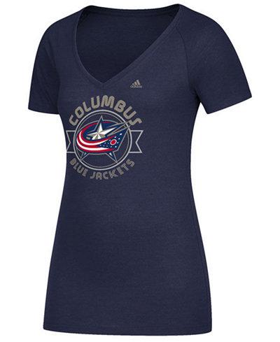 adidas Women's Columbus Blue Jackets Banner Dazzle T-Shirt