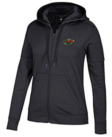 adidas Women's Minnesota Wild Logo Stitched Full-Zip Hooded Sweatshirt