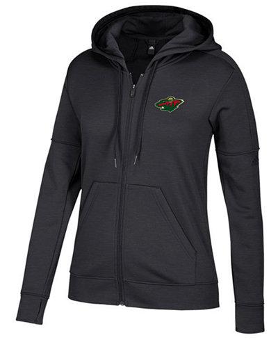 adidas Women's Minnesota Wild Logo Stitched Full-Zip Hooded Sweatshirt