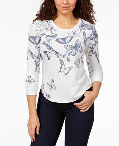 Style & Co Petite Butterfly-Print Sweatshirt, Created for Macy's
