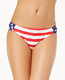 California Waves Juniors' Americana Printed Bikini Bottoms, Created for Macy's
