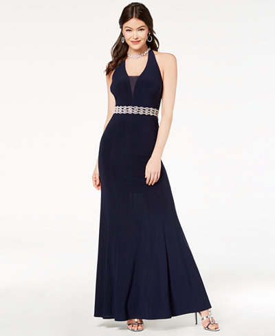 B Darlin Juniors' Embellished Illusion Halter Gown