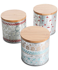 Gibson Hollydale 3-Pc. Metal Canister Set with Lids