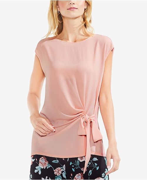 Rose Cap Sleeve Top Tie Vince Wild Side Camuto 08xn5Ua