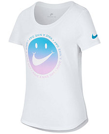 Nike Happy Face-Print Cotton T-Shirt, Big Girls