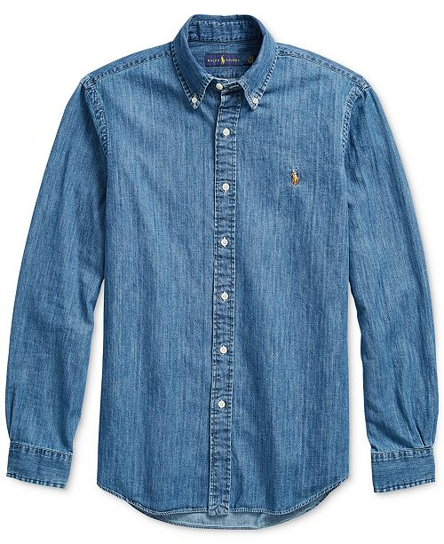 2b8dbac96b Polo Ralph Lauren Men s Classic-Fit Denim Shirt   Reviews - Casual ...