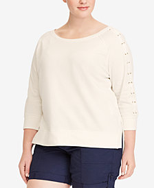Lauren Ralph Lauren Plus Size Lace-Up-Sleeve Top