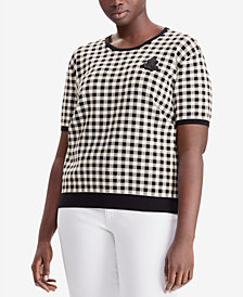 Lauren Ralph Lauren Plus Size Gingham Sweater
