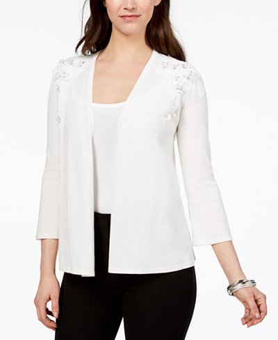 Alfani Sequined Floral-Appliqué Cardigan, Created for Macy's