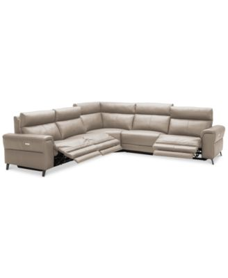 Raymere 5-Pc. Leather Sectional Sofa With 3 Power Recliners, Power Headrests, And USB Power Outlet, Created for Macy's