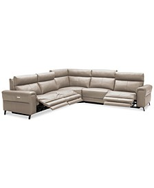 CLOSEOUT! Raymere 5-Pc. Leather Sectional Sofa With 3 Power Recliners, Power Headrests, And USB Power Outlet, Created for Macy's