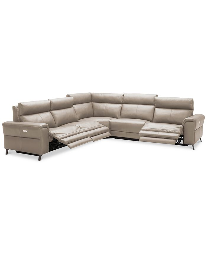 Furniture - Raymere 5-Pc. Leather Sectional Sofa With 3 Power Reclining Chairs, Power Headrests, And USB Power Outlet