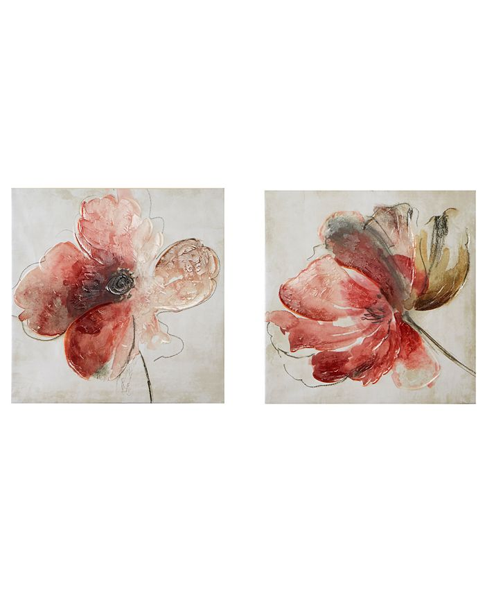"""JLA Home - Madison Park 'Lovely Blooms' 24"""" x 24"""" Hand-Embellished 2-Pc. Canvas Wall Art Set"""