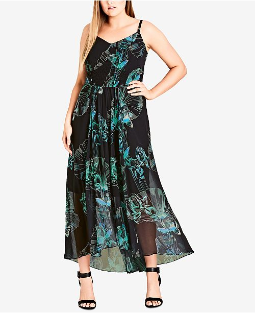 a91b2dd99a City Chic Trendy Plus Size Floral-Print Maxi Dress   Reviews ...
