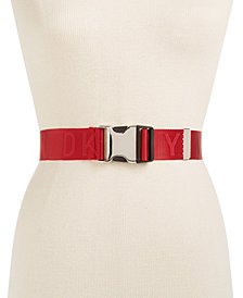 DKNY Seat Belt-Buckle Logo Belt, Created for Macy's