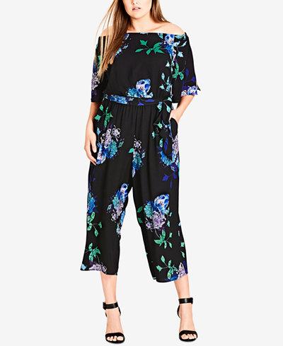 City Chic Trendy Plus Size Printed Jumpsuit