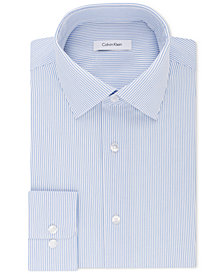 Calvin Klein Men's Classic/Regular Fit Non-Iron Performance Stretch Stripe Dress Shirt