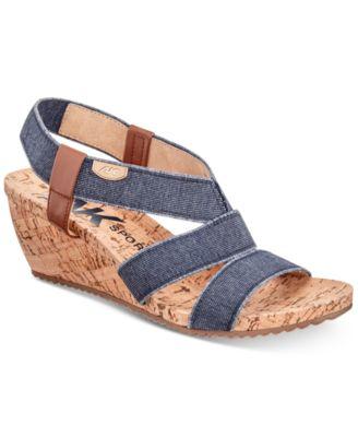 Anne Klein Sport Cabrini Wedge Sandals Womens Shoes