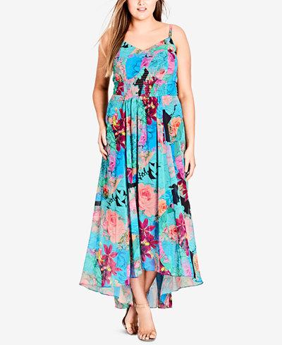 City Chic Trendy Plus Size Smocked Maxi Dress