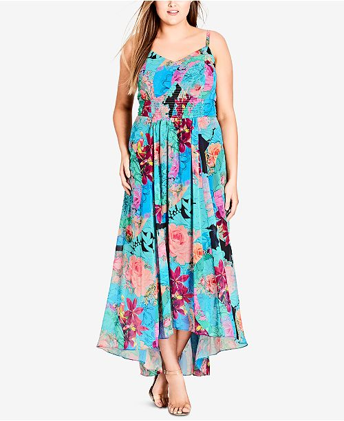 City Chic Trendy Plus Size Smocked Maxi Dress & Reviews - Dresses ...