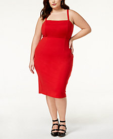 Soprano Trendy Plus Size Lace-Up Bodycon Dress