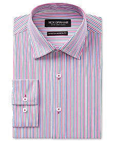 Nick Graham Men's Slim-Fit Stretch Easy-Care Multi Stripe Dress Shirt