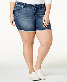 Trendy Plus Size High-Waisted Raw-Hem Denim Shorts