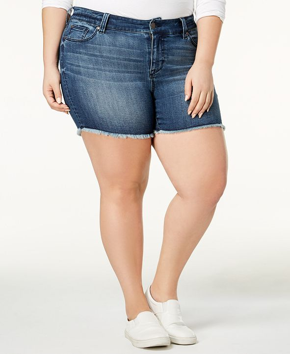 Celebrity Pink Plus Size High-Waisted Raw-Hem Denim Shorts