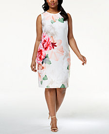 Calvin Klein Plus Size Floral-Print Scuba Dress