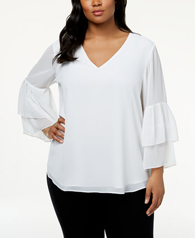 Calvin Klein Plus Size Tiered Bell-Sleeve Blouse