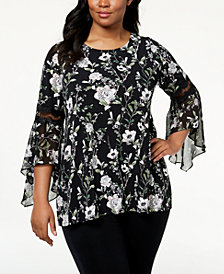 Alfani Plus Size Lace-Inset Top, Created for Macy's