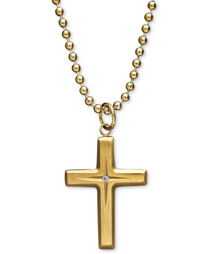 Macy's - Yellow Ion Plated Stainless Steel Necklace, Diamond Accent Cross Pendant