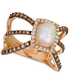 Le Vian Chocolatier® Neopolitan Opal™ (7/8 ct. t.w.) & Diamond (7/8 ct. t.w.) Openwork Ring in 14k Rose Gold