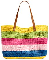 I.N.C Jordyy Pop Stripe Extra-Large Beach Tote, Created for Macy's