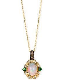 "Le Vian Chocolatier® Multi-Gemstone (5/8 ct. t.w.) & Diamond (1/8 ct. t.w.) 18"" Pendant Necklace in 14k Gold"