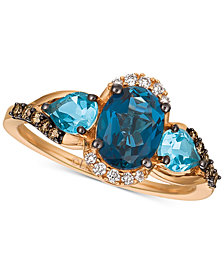 Le Vian Chocolatier® Blue Topaz (2-1/6 ct. t.w.) & Diamond (1/6 ct. t.w.) Ring in 14k Rose Gold