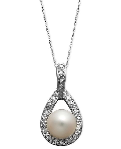 Belle de Mer 14k White Gold Necklace, Cultured Freshwater Pearl (8mm) and Diamond Accent Teardrop Pendant