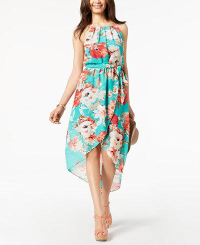 BCX Juniors' Floral-Print High-Low Halter Dress