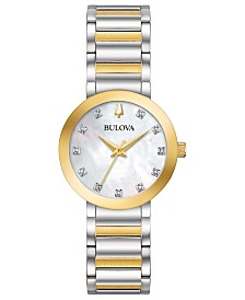 Bulova Women's Futuro Diamond-Accent Two-Tone Stainless Steel Bracelet Watch 30mm