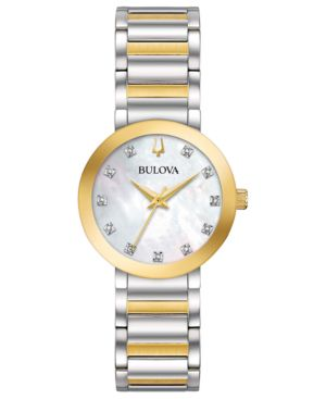 BULOVA Women'S Modern Diamond-Accent Two-Tone Stainless Steel Bracelet Watch 30Mm in White/Multi