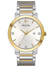 Bulova Men's Futuro Diamond-Accent Two-Tone Stainless Steel Bracelet Watch 42mm
