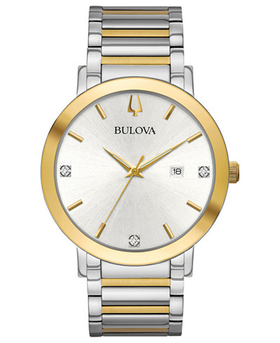 Bulova Men's Modern Diamond-Accent Two-Tone Stainless Steel Bracelet Watch 42mm