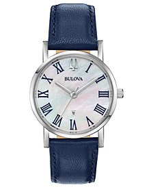 Bulova Women's American Clipper Navy Leather Strap Watch 32mm