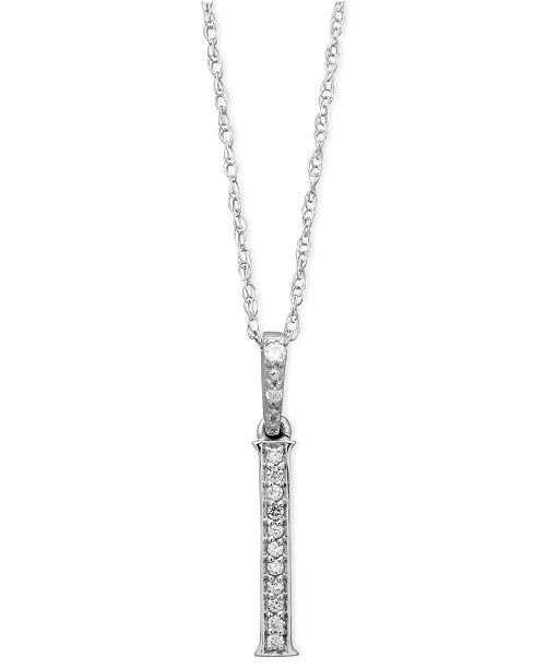 Macy's 14k White Gold Necklace, Diamond Accent Letter I