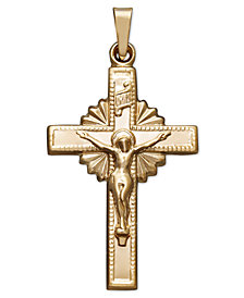 14k Gold Pendant, Starburst Crucifix
