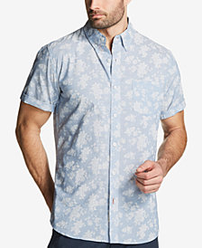 Weatherproof Vintage Men's Leaf-Print Cotton Chambray Shirt
