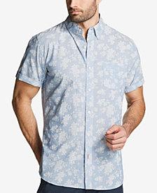 Weatherproof Vintage Men's Leaf-Print Cotton Chambray Shirt