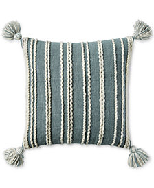 "CLOSEOUT! Lucky Brand Chain Stitch Stripe 22"" x 22"" Decorative Pillow, Created for Macy's"