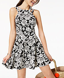 B Darlin Juniors' Printed Fit & Flare Dress