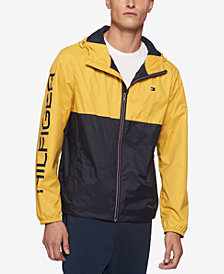 Tommy Hilfiger Men's Big & Tall Colorblocked Logo-Print Raincoat